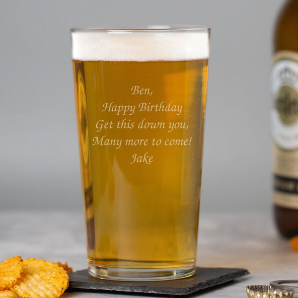 Personalised Any Message Pint Glass
