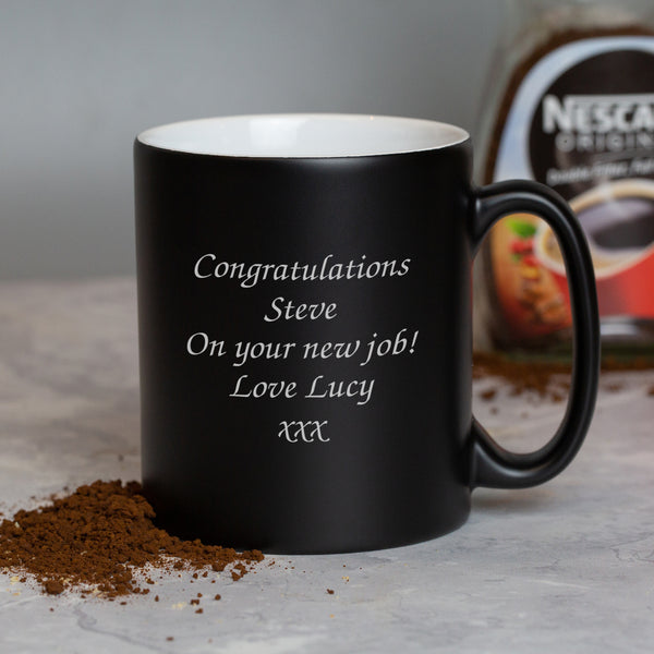 Personalised Any Message Black Mug