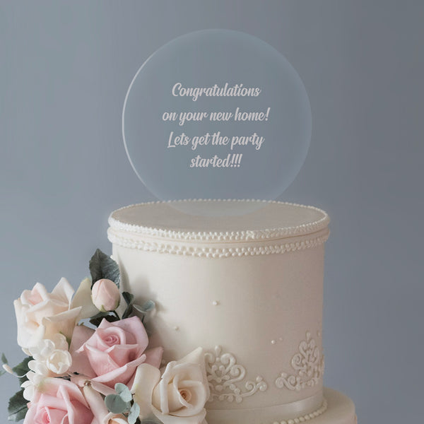 Personalised Any Message Large Circle Acrylic Cake Topper