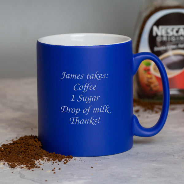 Personalised Any Message Blue Mug