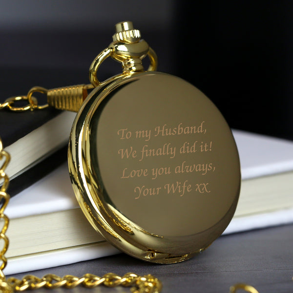 Personalised Message Gold Pocket Fob Watch