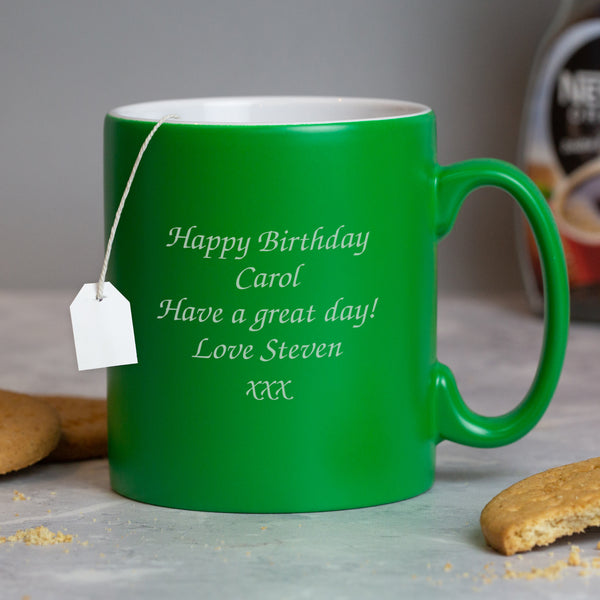 Personalised Any Message Green Mug