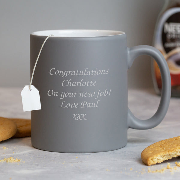 Personalised Any Message Grey Mug