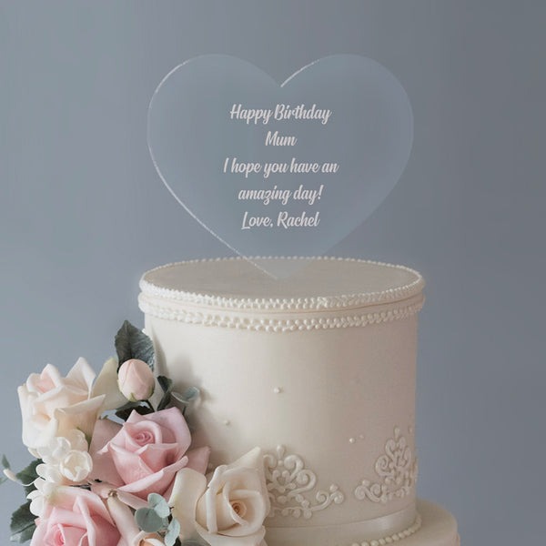 Personalised Any Message Large Heart Acrylic Cake Topper