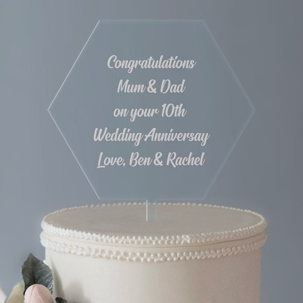 Personalised Any Message Large Hexagon Acrylic Cake Topper