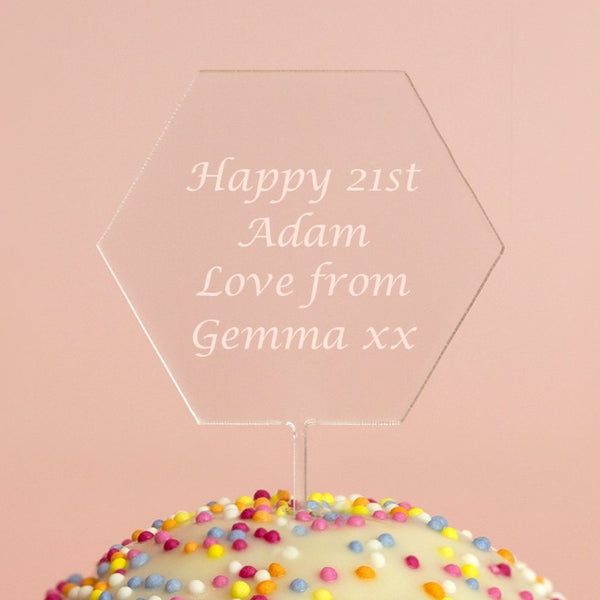 Personalised Any Message Hexagon Acrylic Cake Topper