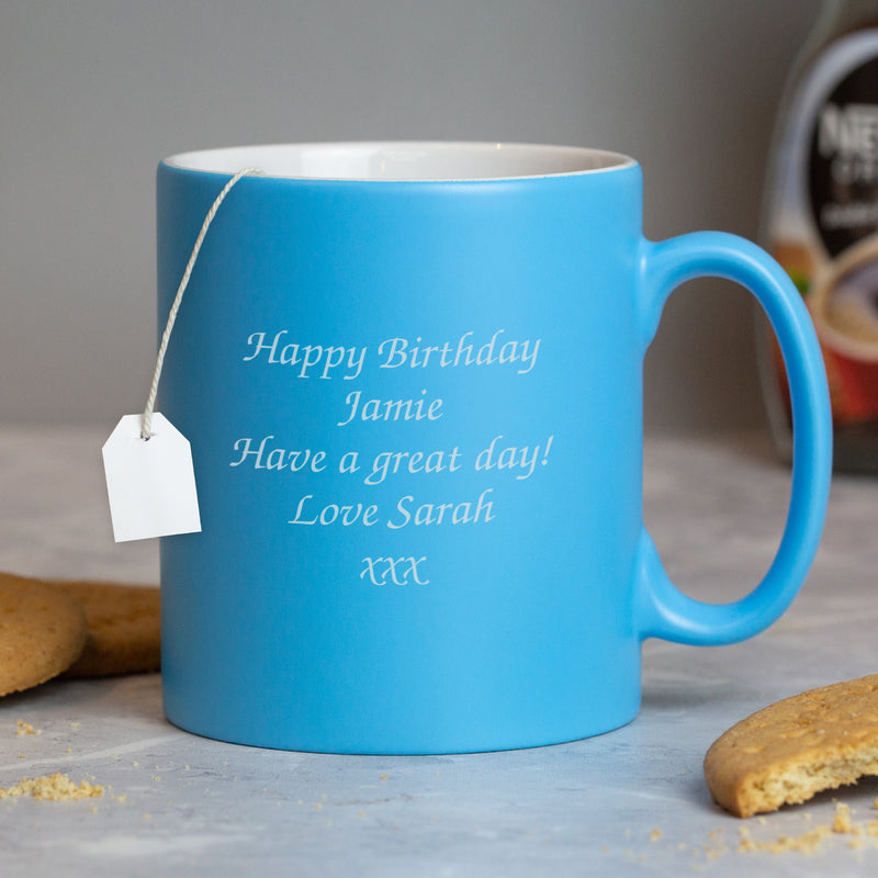 Personalised Any Message Light Blue Mug
