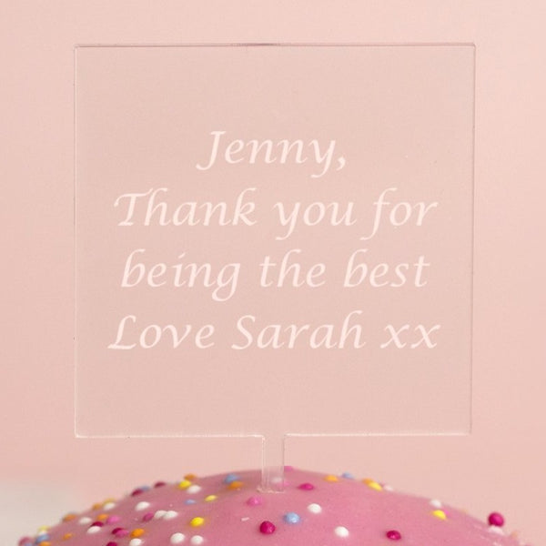 Personalised Any Message Square Acrylic Cake Topper