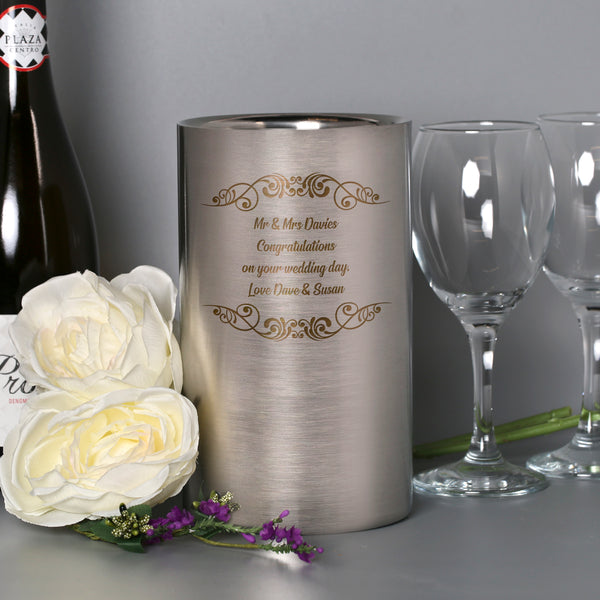 Personalised Message Stainless Steel Wine Cooler