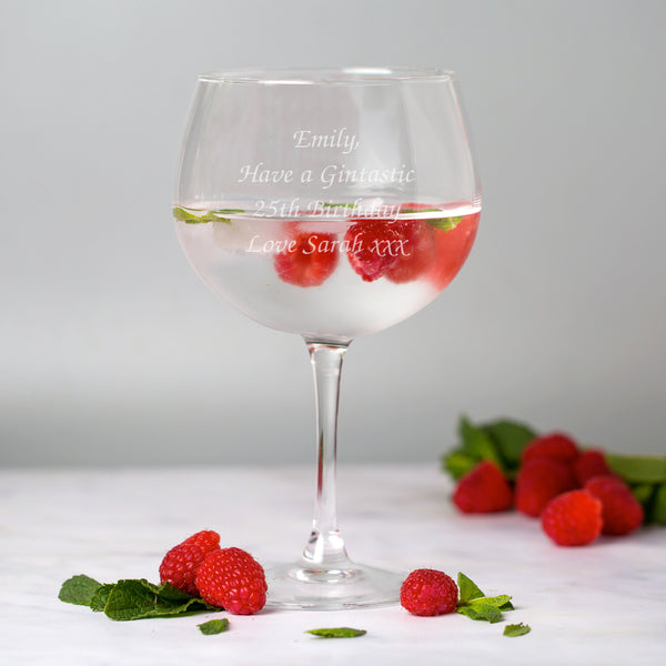 Personalised Any Message Balloon Gin Glass