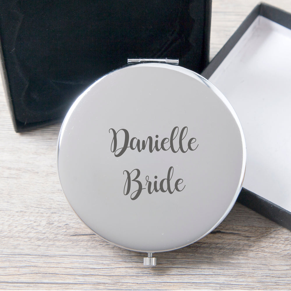 Personalised Bride Silver Compact Mirror
