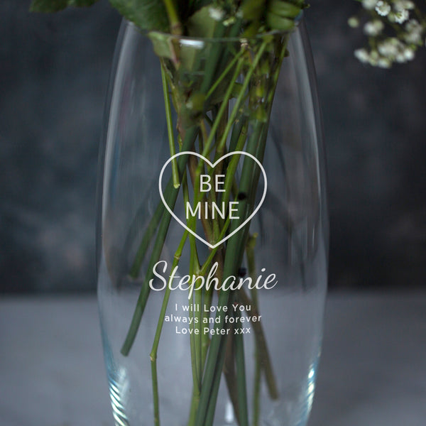 Personalised Be Mine Glass Bullet Vase