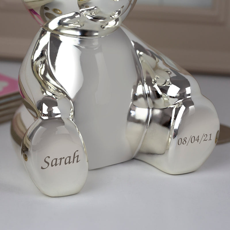 Personalised Name Silver Teddy Bear Money Box