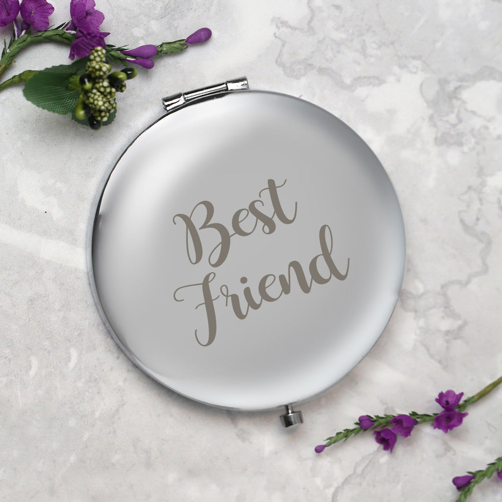 Best Friend Silver Compact Mirror