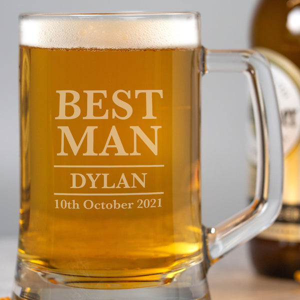 Personalised Best Man Glass Pint Stern Tankard