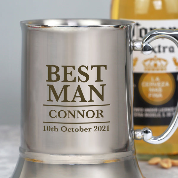 Personalised Best Man Silver Stainless Steel Tankard
