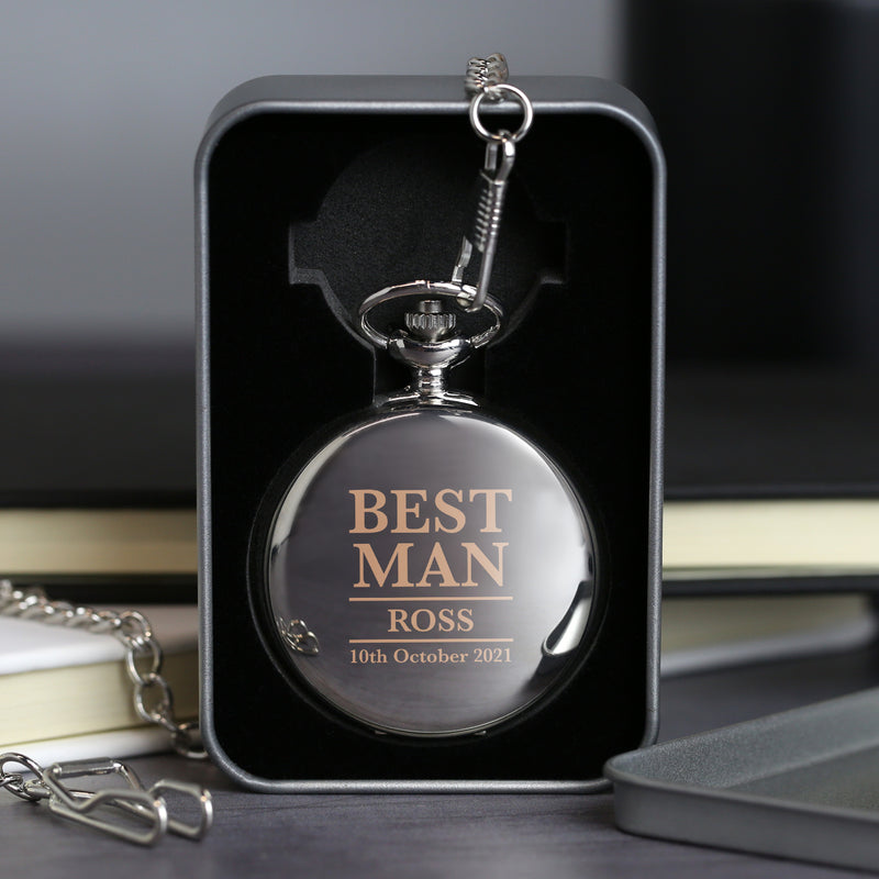 Personalised Best Man Silver Pocket Fob Watch