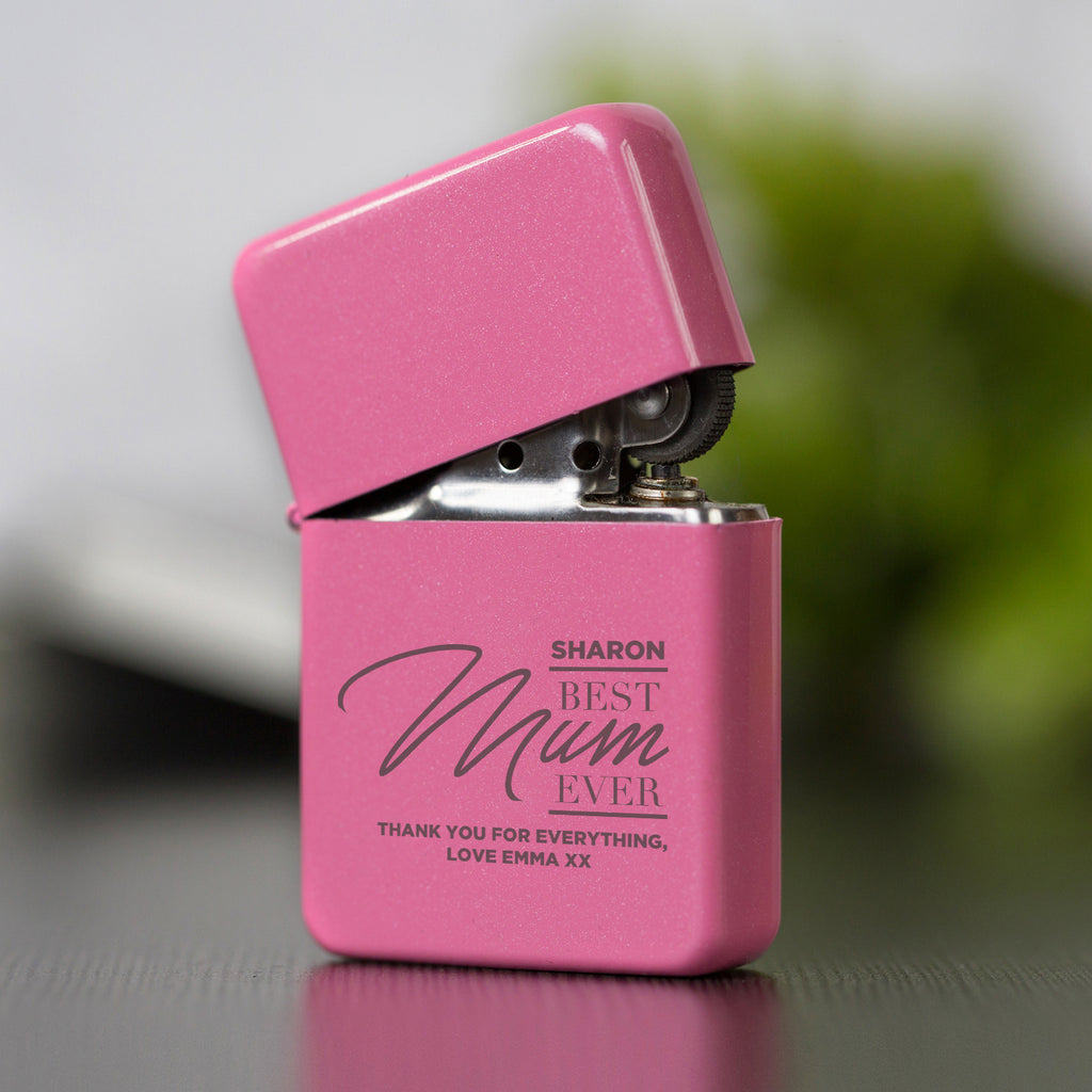 Personalised Best Mum Ever Pink Lighter & Gift Box