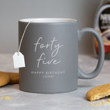 Personalised Birthday Script Grey Mug