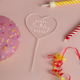 Personalised Happy Birthday Heart Acrylic Cake Topper