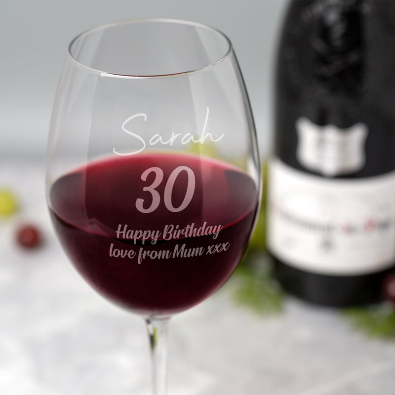 Personalised Large Birthday Wine Glass