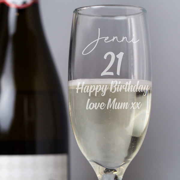 Personalised Birthday Champagne Flute Glass