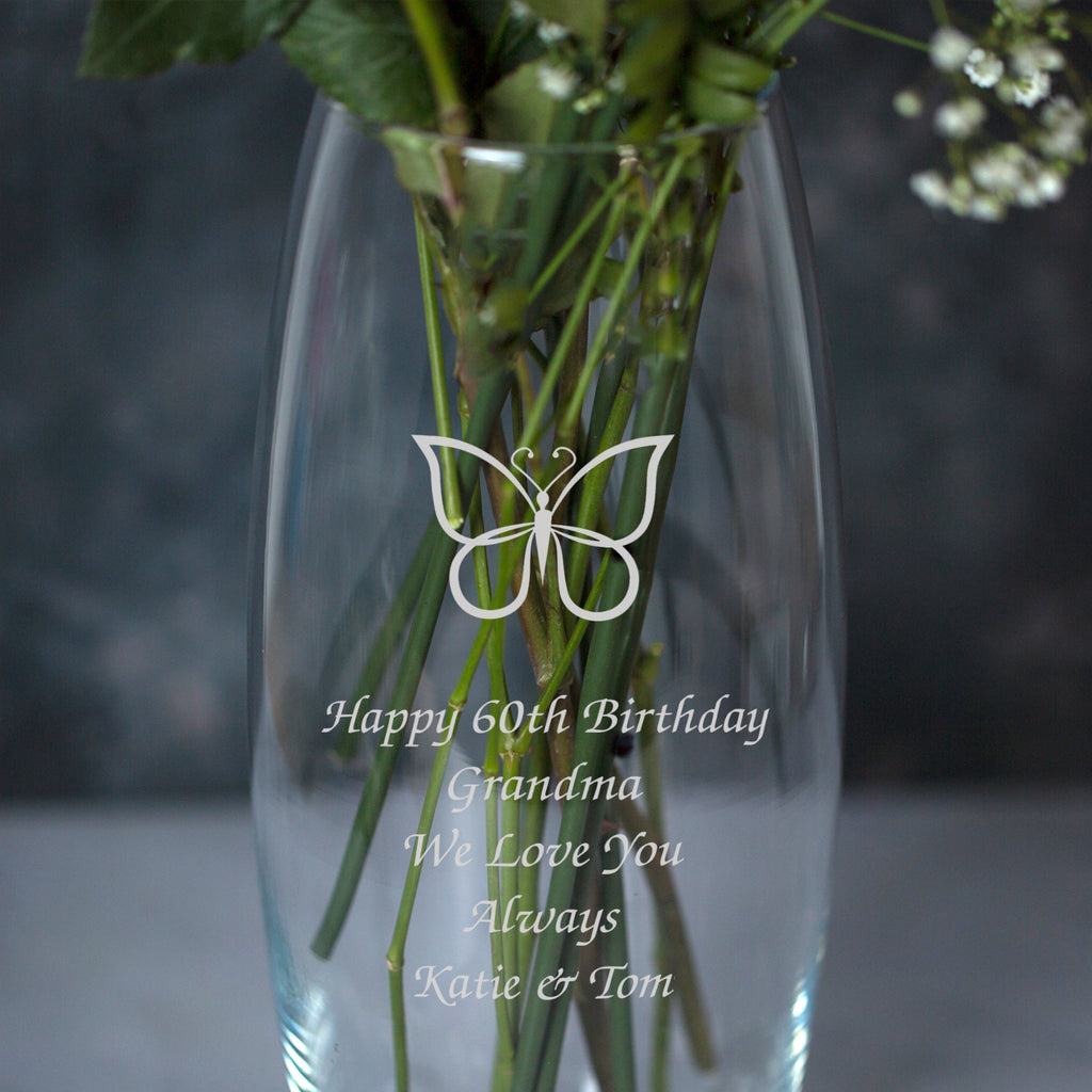 Personalised Butterfly Glass Bullet Vase