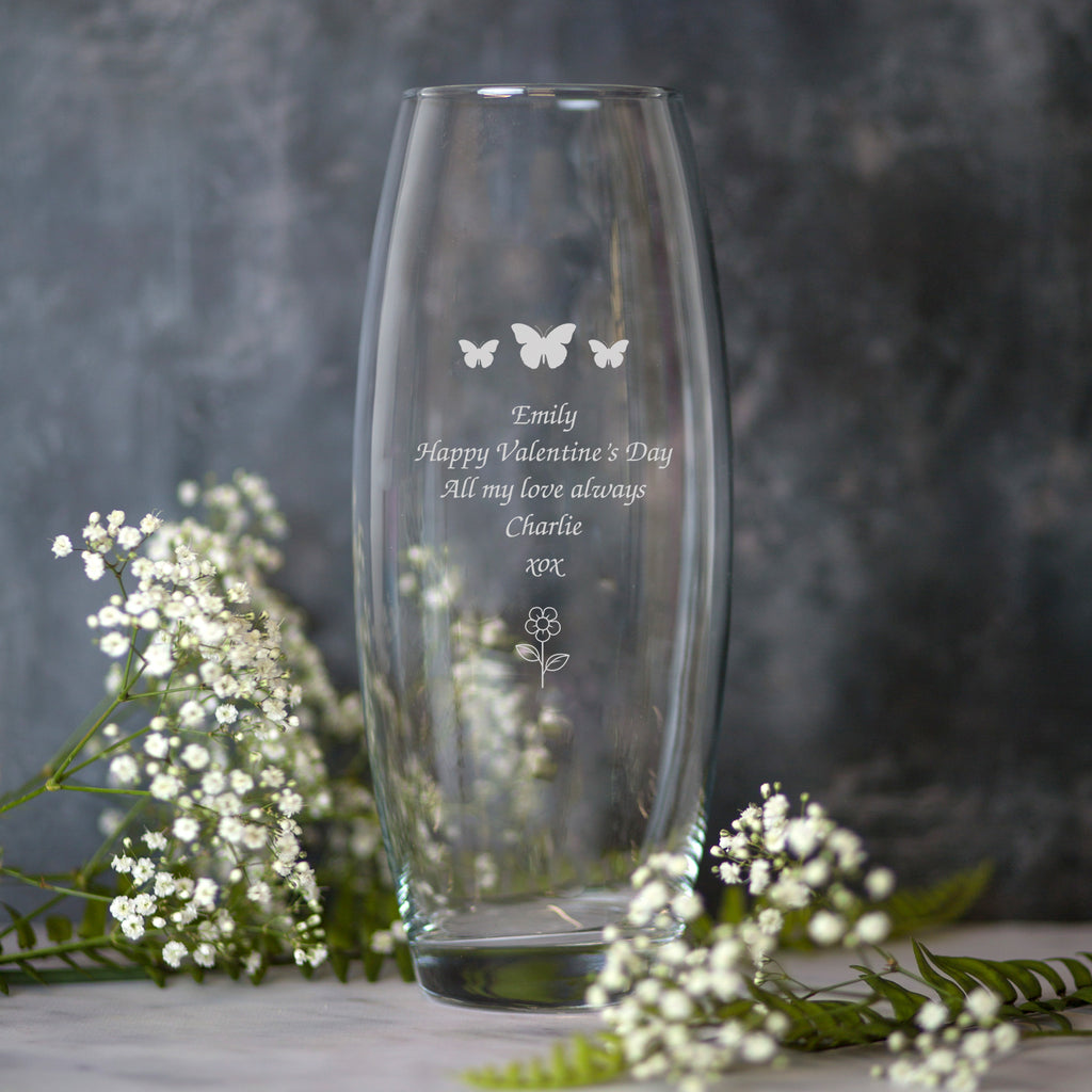 Personalised Butterflies & Flower Glass Bullet Vase