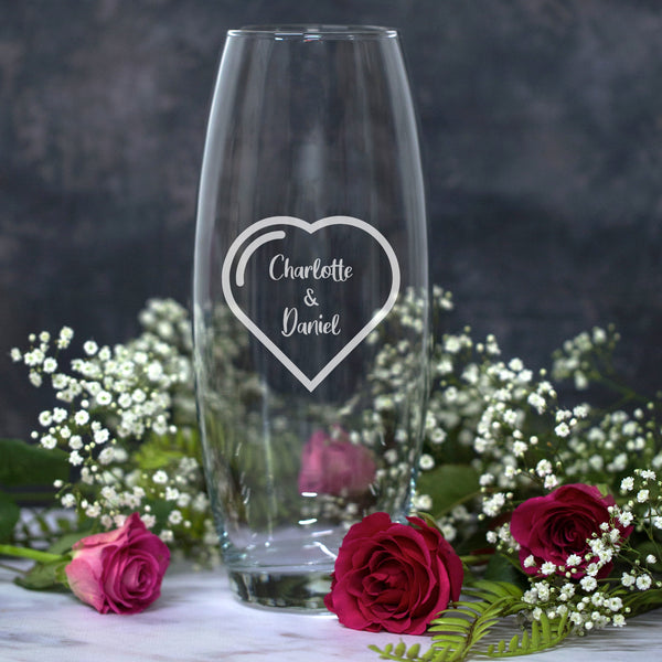 Personalised Heart Names Glass Bullet Vase