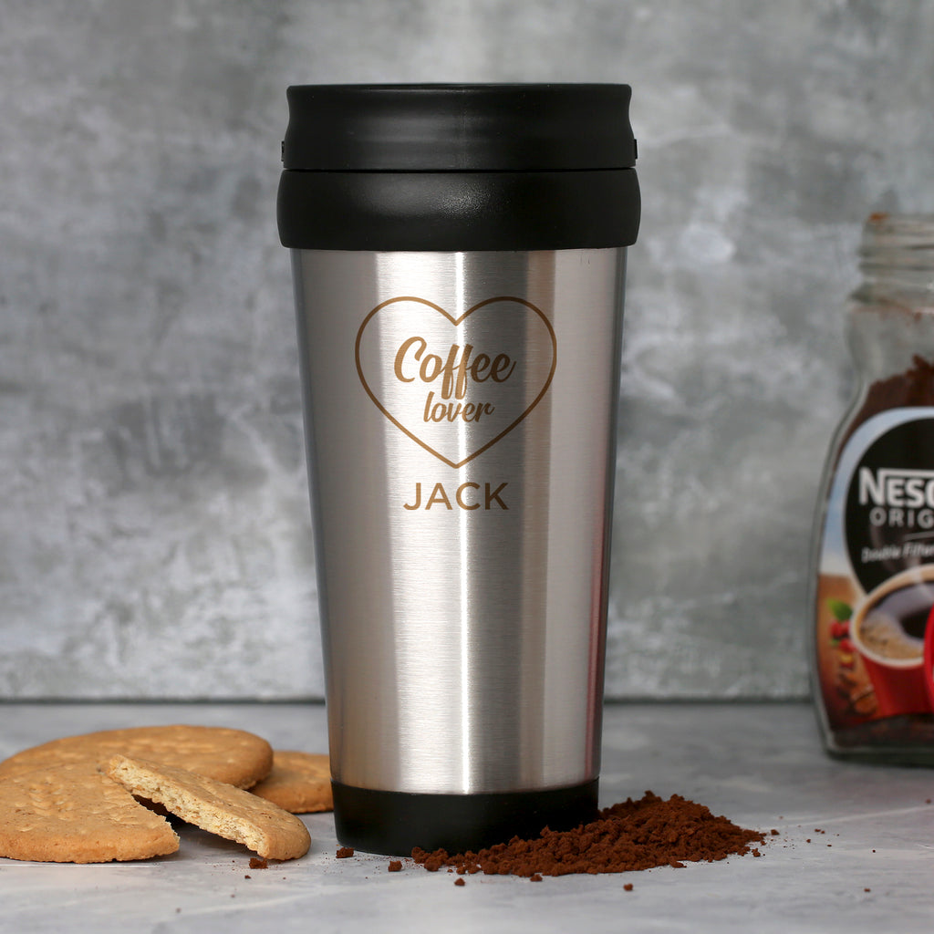 Personalised Coffee Lover Stainless Steel Travel Tumbler