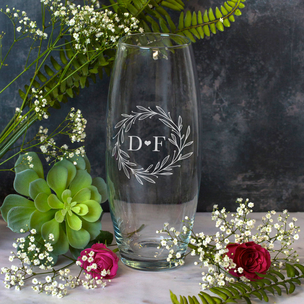 Personalised Floral Monogram Glass Bullet Vase