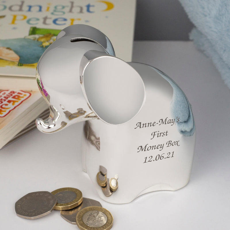 Personalised Message Silver Elephant Money Box