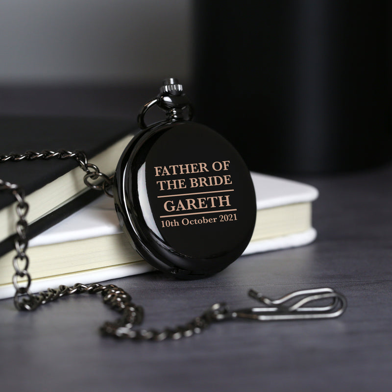 Personalised Father of the Bride Black Pocket Fob Watch
