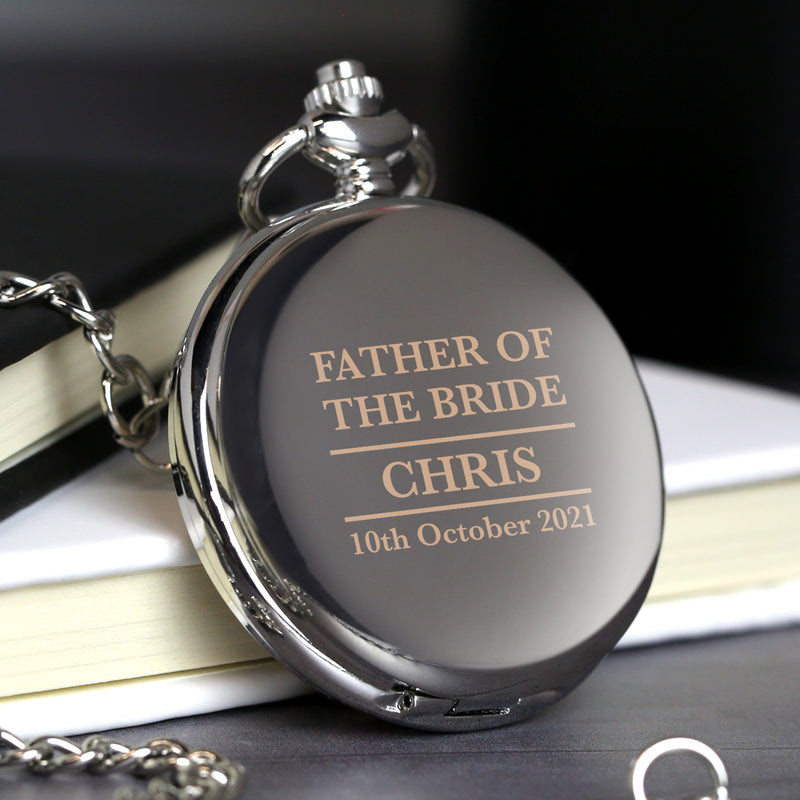 Personalised Father of the Bride Silver Pocket Fob Watch