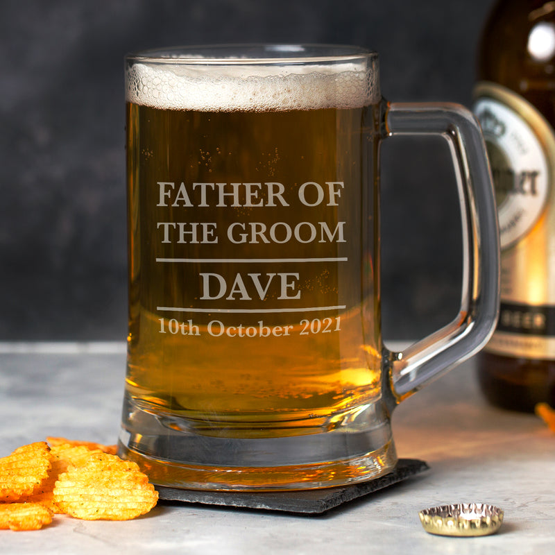 Personalised Father Of The Groom Glass Pint Stern Tankard