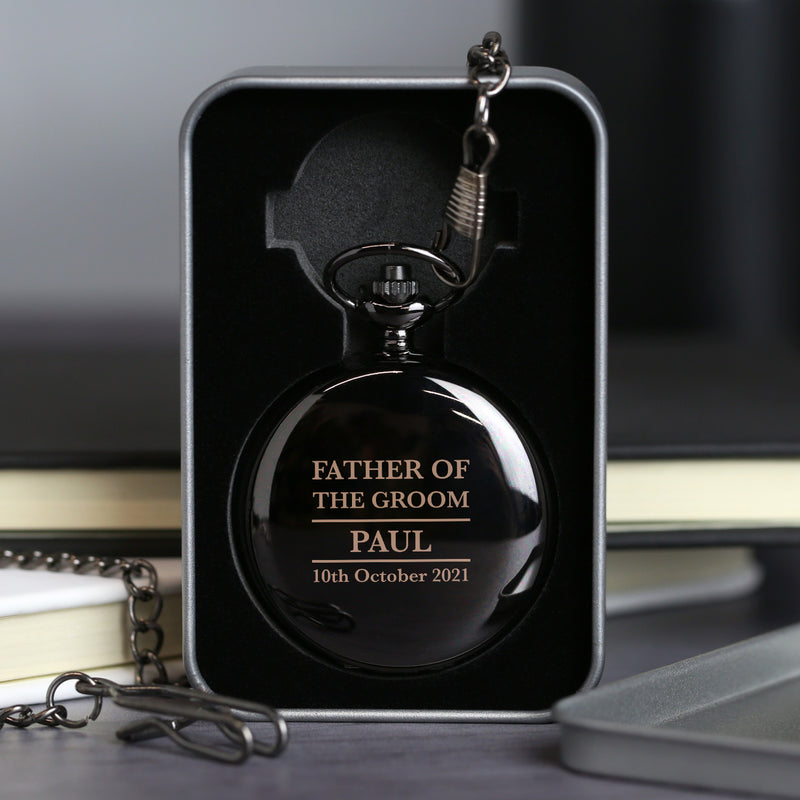 Personalised Father of the Groom Black Pocket Fob Watch
