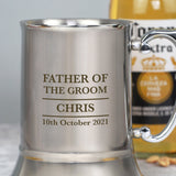 Personalised Father Of The Groom Silver Stainless Steel Tankard