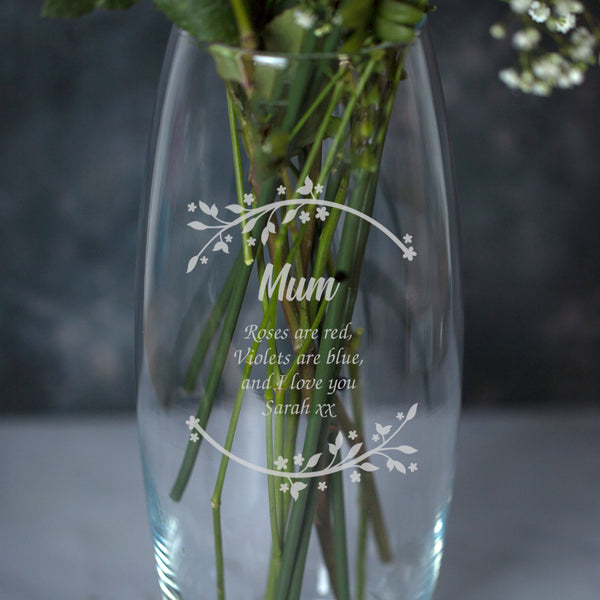 Personalised Floral Name & Message Bullet Vase