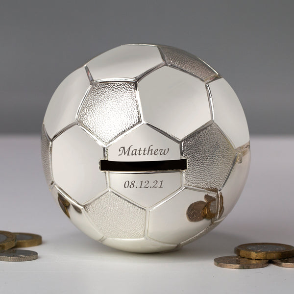 Personalised Message Silver Football Money Box