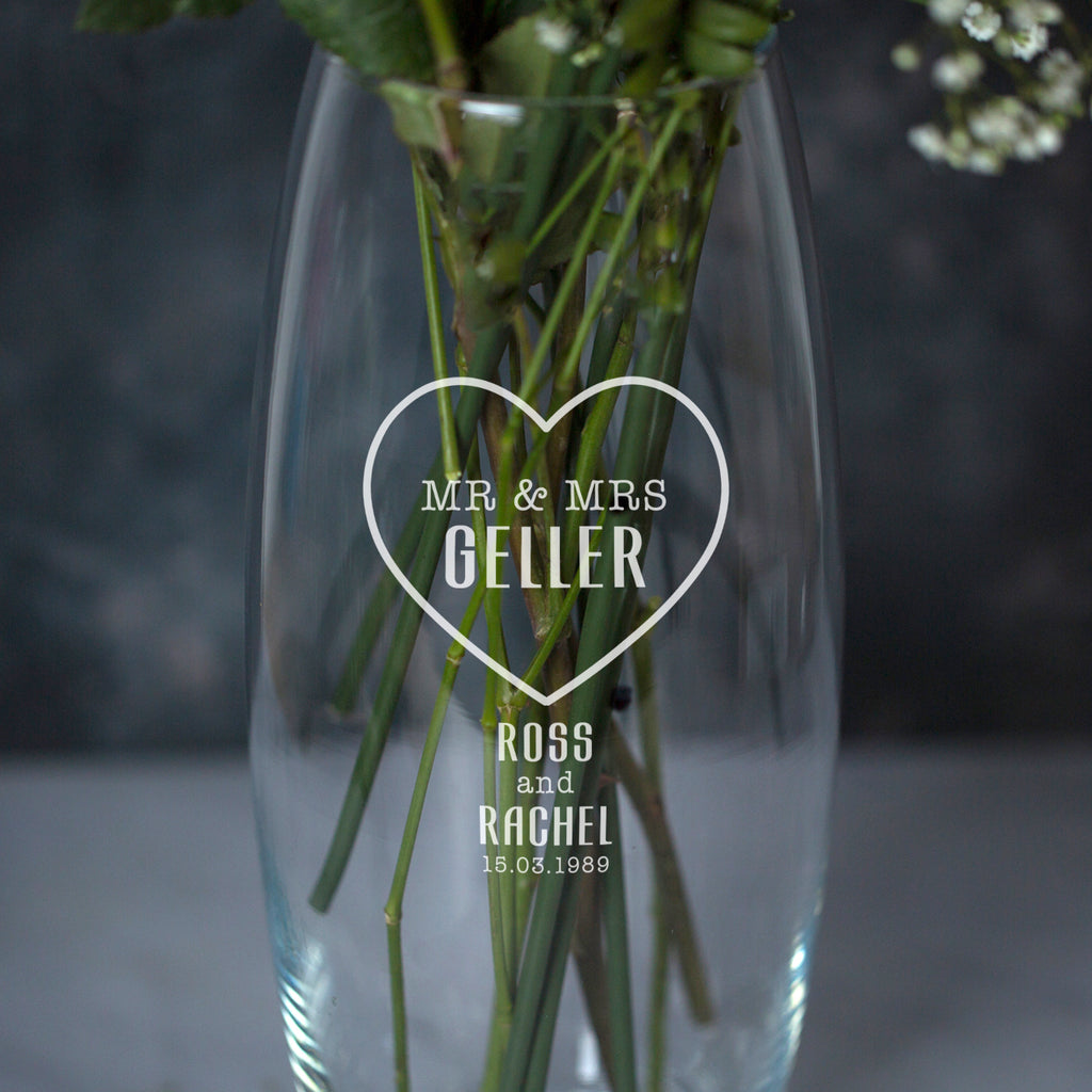Personalised Mr & Mrs Heart Glass Bullet Vase