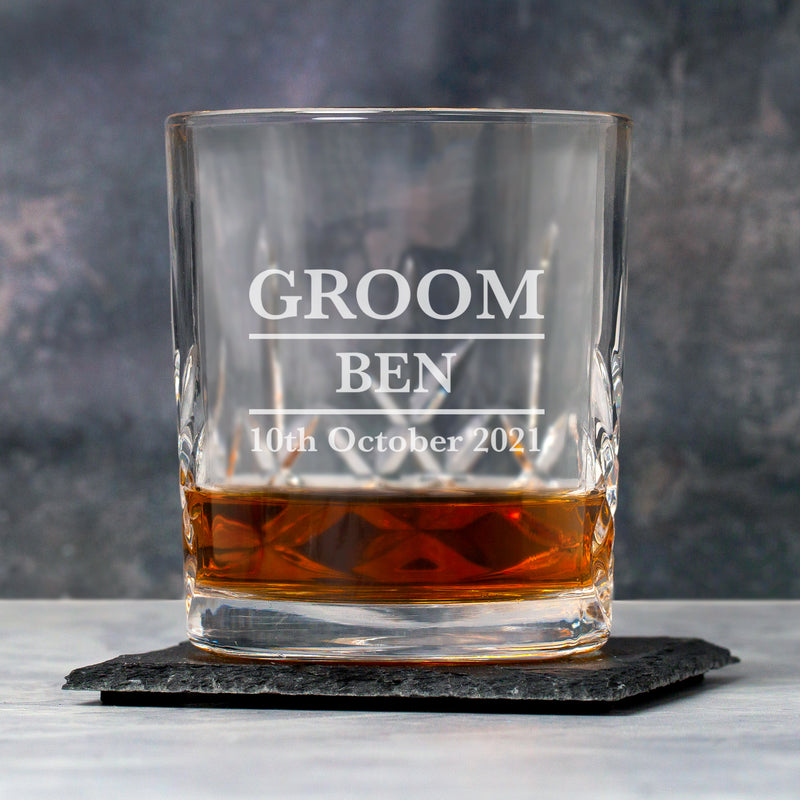Personalised Groom Crystal Panel Glass Tumbler