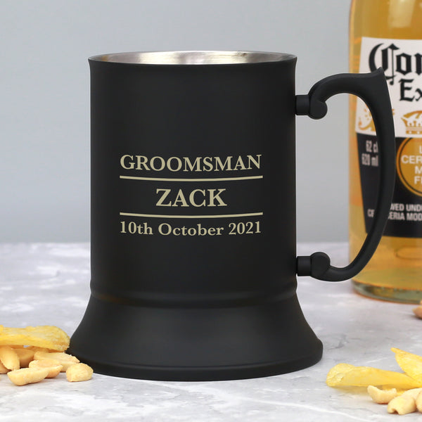 Personalised Groomsman Matt Black Stainless Steel Tankard