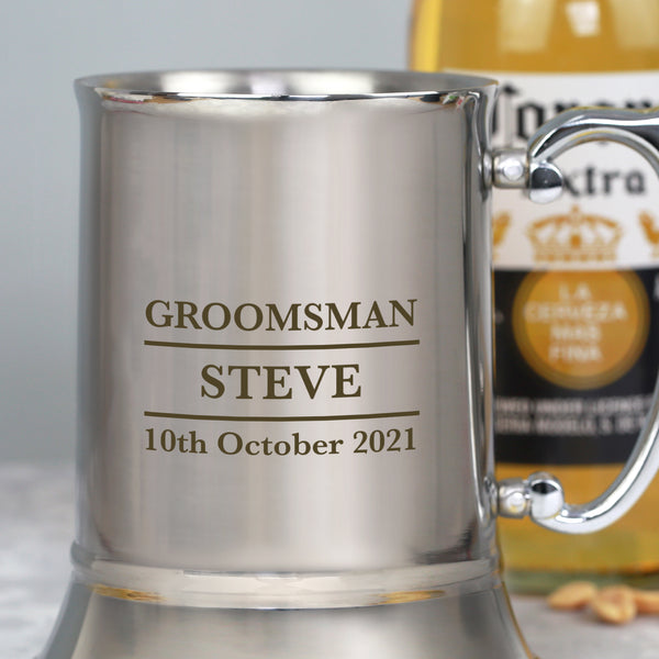 Personalised Groomsman Silver Stainless Steel Tankard