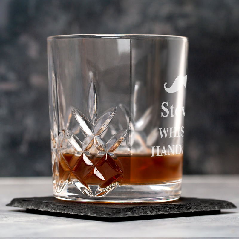 Personalised Moustache Crystal Panel Glass Tumbler