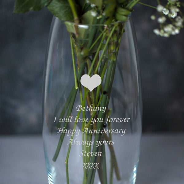 Personalised Heart Glass Bullet Vase