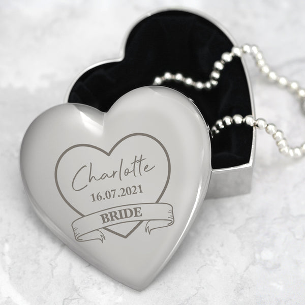 Personalised Bride Wedding Heart Trinket Box