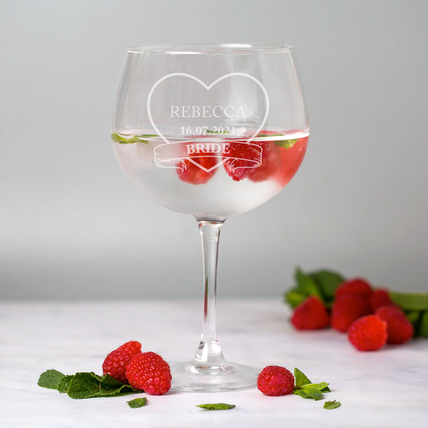 Personalised Bride Wedding Balloon Gin Glass