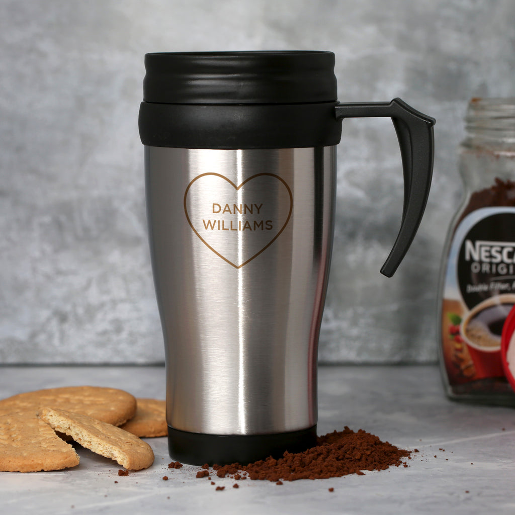 Personalised Heart Name Stainless Steel Travel Mug