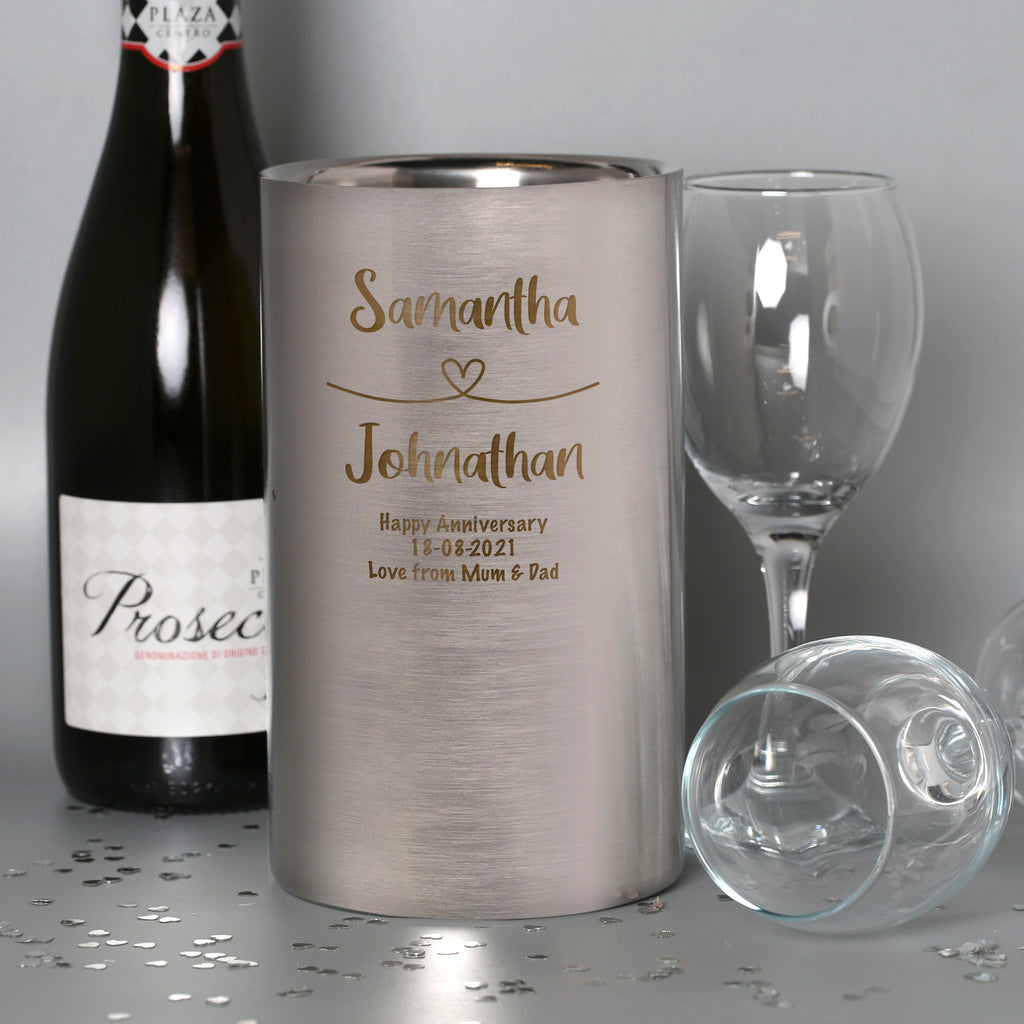 Personalised Heart Loop Stainless Steel Wine Cooler