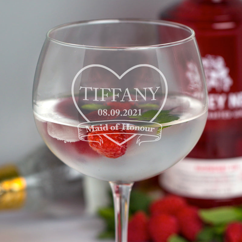 Personalised Maid of Honour Wedding Balloon Gin Glass